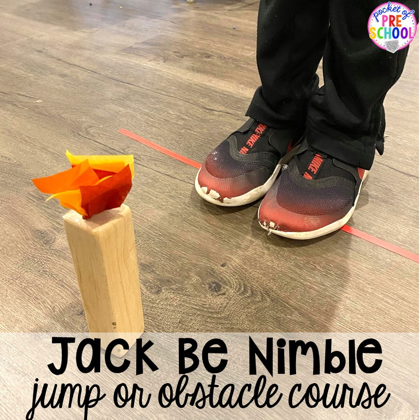 Jacke Be Nimble jump! Favorite Nursery Rhyme activities and centers for preschool, pre-k, and kindergarten. #nurseryrhymes #preschool #prek #kindergarten
