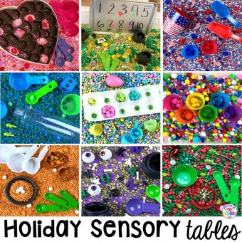 Holiday sensory tables for every holiday with various sensory fillers and sensory tools that incorperate math, literacy, and science into play. #sensorytable #sensorybin #sensoryplay #preschool #prek