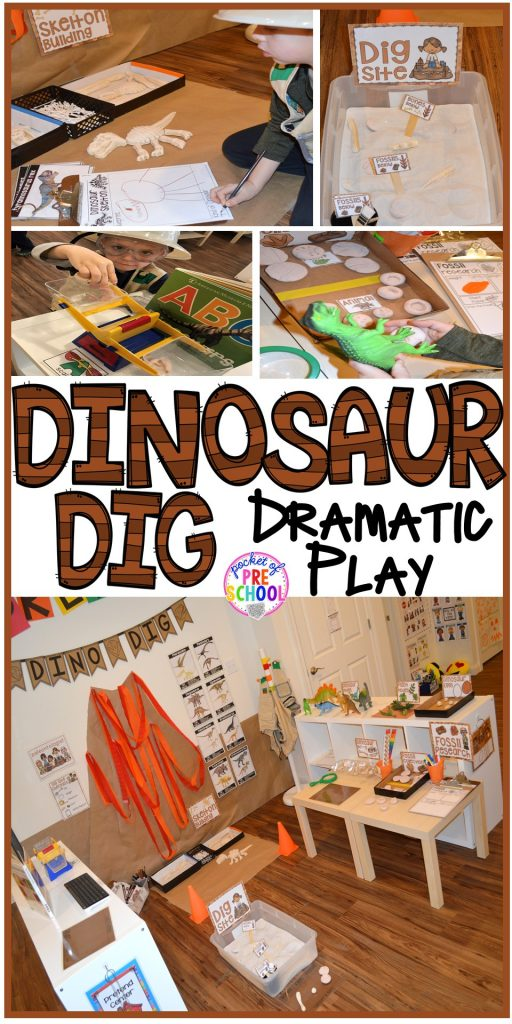 How to make a Dinosaur Dig Site in dramatic play and embed tons of math, literacy, and STEM into their play. Perfect for preschool, pre-k, and kindergarten. #preschool #prek #dinosaurtheme #dinodig #dramaticplay