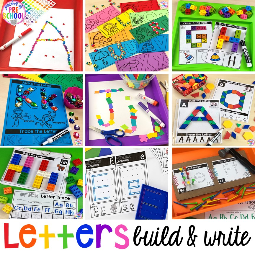 Alphabet letter mats - build the letter and write it! Easy way to make learning letters and handwriting fun for preschool, pre-k, and kindergarten #letters #alaphabet #handwriting #preschool #prek #kindergarten