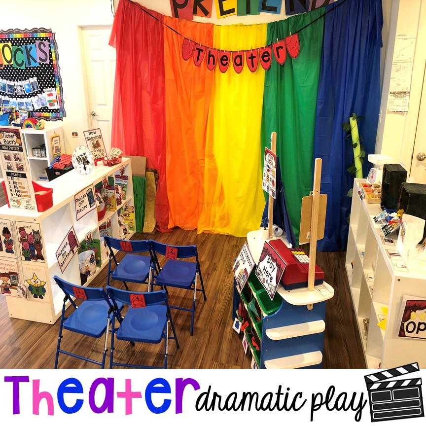How to change the dramatic play center into a Fairy Tale Theater for a fairy tale theme or reading theme. #dramaticplay #pretendplay #preschool #prek #kindergarten