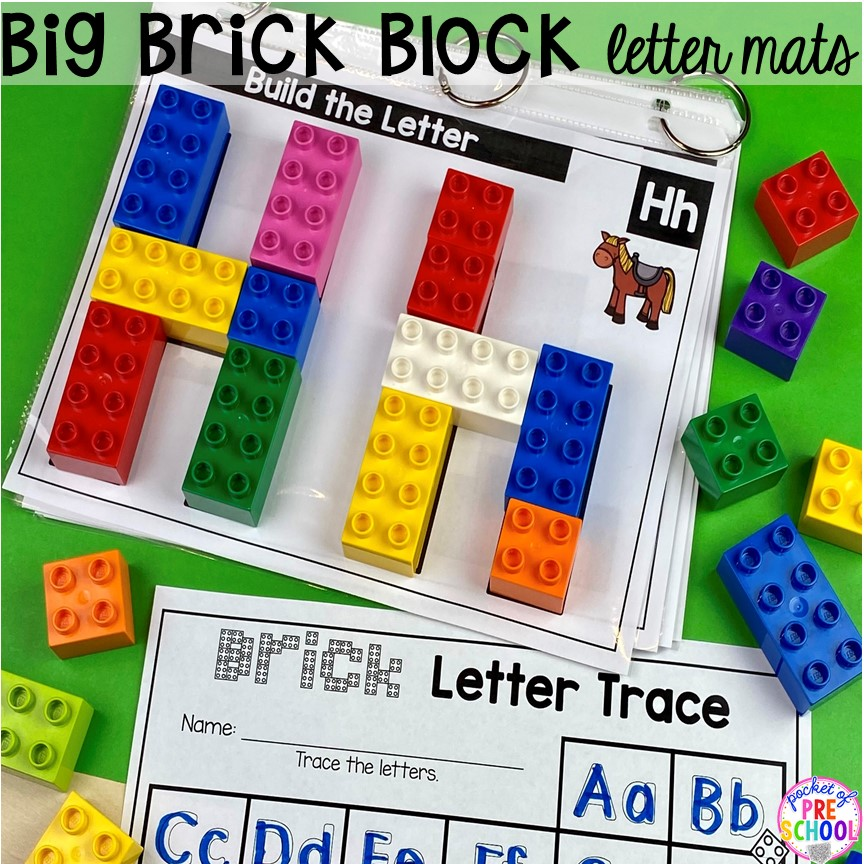 Duplo alphabet letter mats! Alphabet letter mats - build the letter and write it! Easy way to make learning letters and handwriting fun for preschool, pre-k, and kindergarten #letters #alaphabet #handwriting #preschool #prek #kindergarten