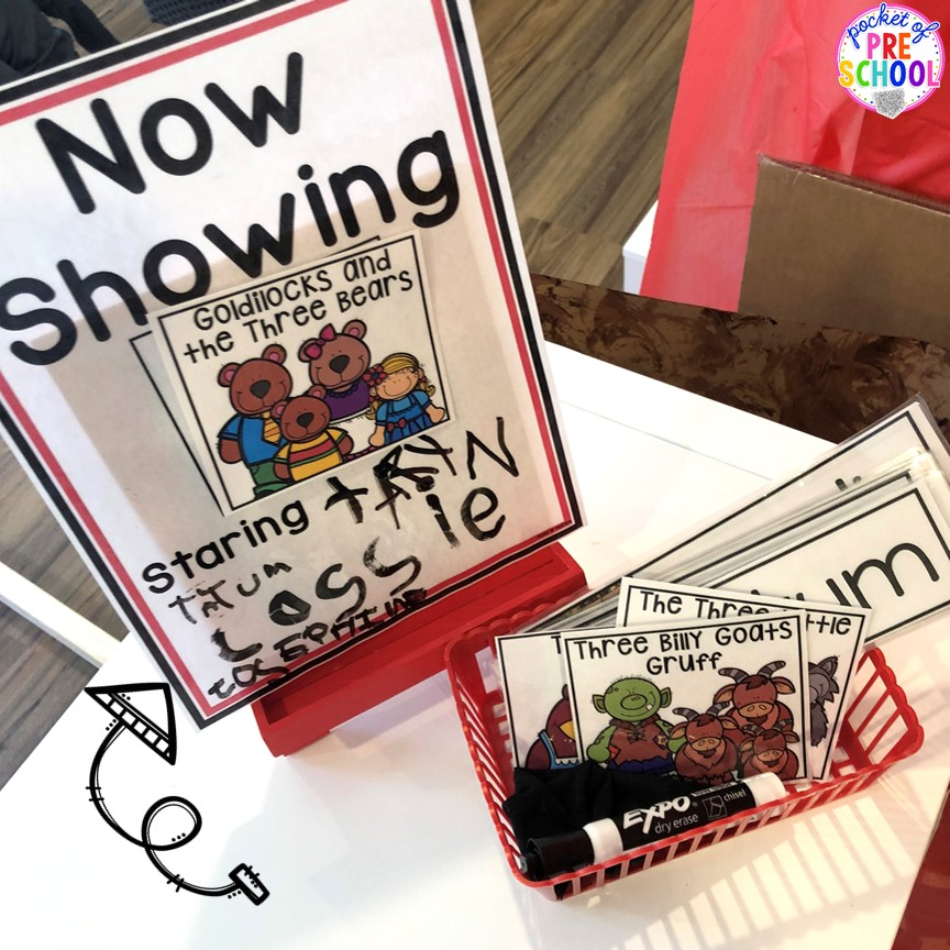 Now showing sign at the pretend theater in the dramatic play center! #preschool #prek #kindergarten
