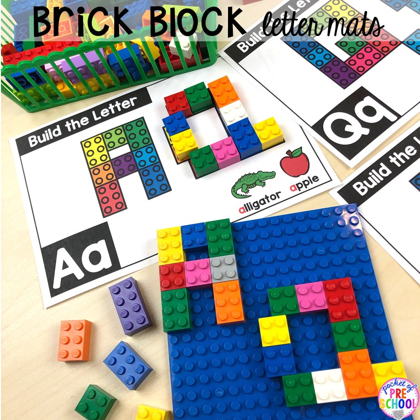 Lego alphabet letter mats! Alphabet letter mats - build the letter and write it! Easy way to make learning letters and handwriting fun for preschool, pre-k, and kindergarten #letters #alaphabet #handwriting #preschool #prek #kindergarten
