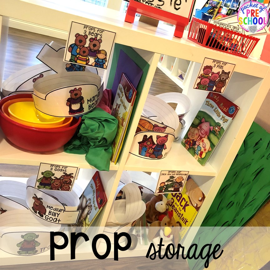 Prop storage! How to change the dramatic play center into a Fairy Tale Theater for a fairy tale theme or reading theme. #dramaticplay #pretendplay #preschool #prek #kindergarten