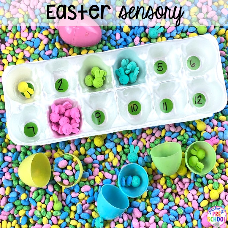 Easter sesnory table with a free sensory table idea list! #sensorytable #sensorybin #sensoryplay #preschool #prek