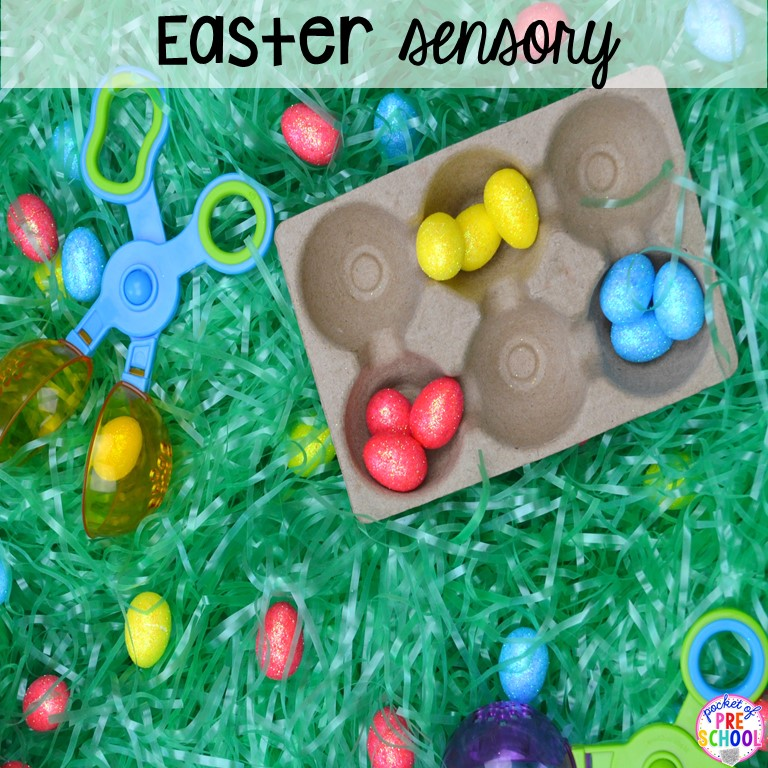 Easter sesnory table plus more sensory tables for every holiday with various sensory fillers and sensory tools that incorperate math, literacy, and science into play. #sensorytable #sensorybin #sensoryplay #preschool #prek