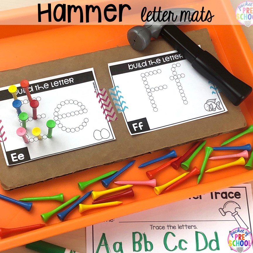 Hammer alphabet letter mats! Alphabet letter mats - build the letter and write it! Easy way to make learning letters and handwriting fun for preschool, pre-k, and kindergarten #letters #alaphabet #handwriting #preschool #prek #kindergarten