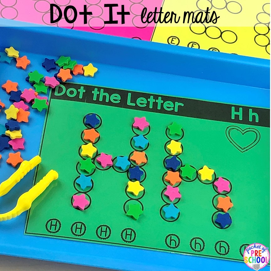 Dot it alphabet letter mats! Alphabet letter mats - build the letter and write it! Easy way to make learning letters and handwriting fun for preschool, pre-k, and kindergarten #letters #alaphabet #handwriting #preschool #prek #kindergarten