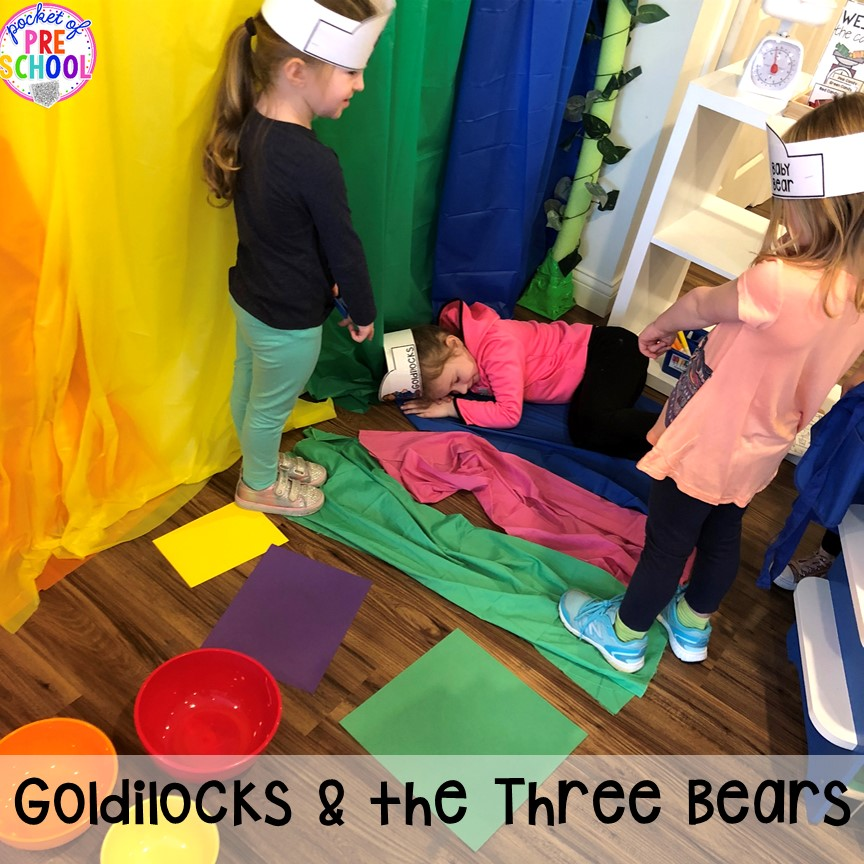 Act out Goldilocks and the Three Bears at the pretend theater in the dramatic play center! a fun way to retell a book through play. #dramaticplay #pretendplay #preschool #prek #kindergarten