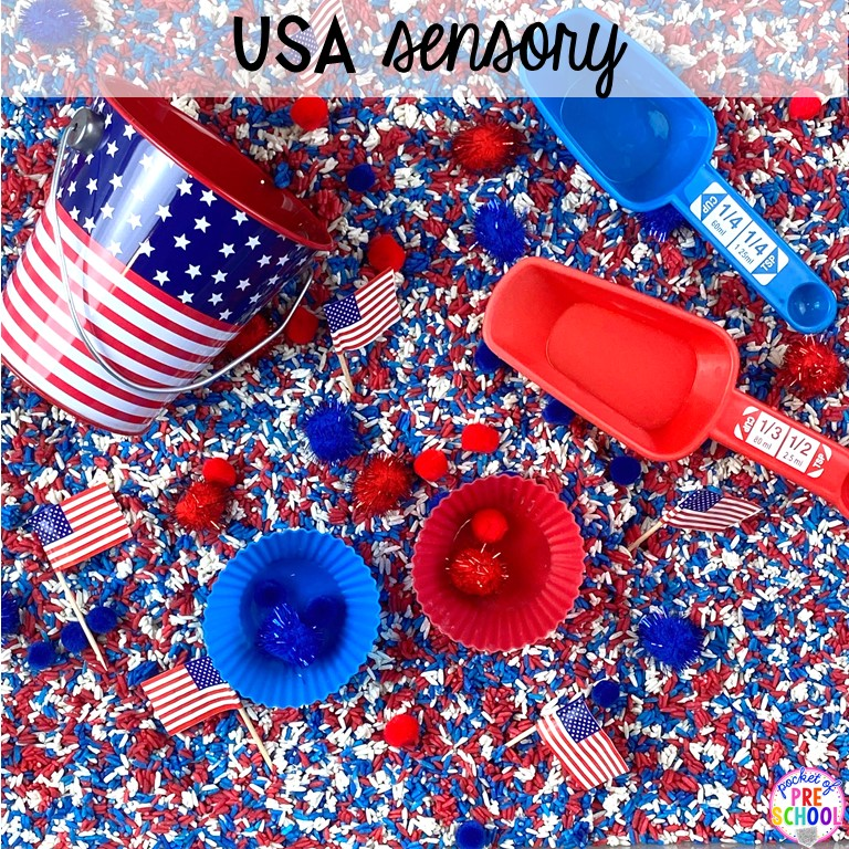 USA sesnory table plus more sensory tables for every holiday with various sensory fillers and sensory tools that incorperate math, literacy, and science into play. #sensorytable #sensorybin #sensoryplay #preschool #prek