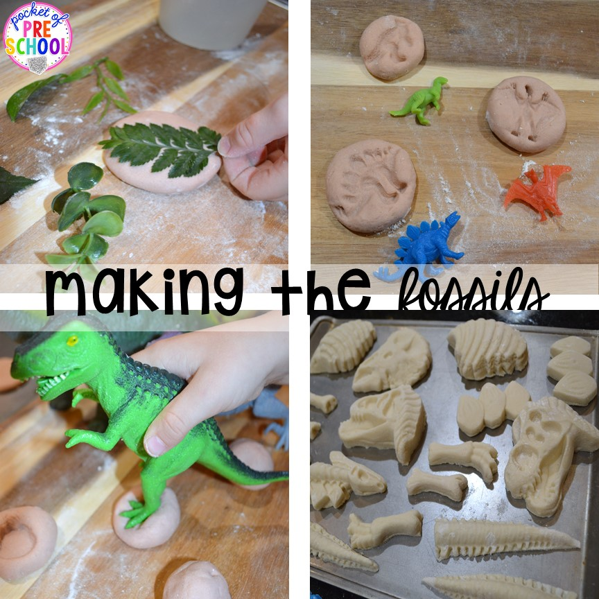 How to make your own fossils for play! ow to make a Dinosaur Dig Site in dramatic play and embed tons of math, literacy, and STEM into their play. Perfect for preschool, pre-k, and kindergarten. #preschool #prek #dinosaurtheme #dinodig #dramaticplay