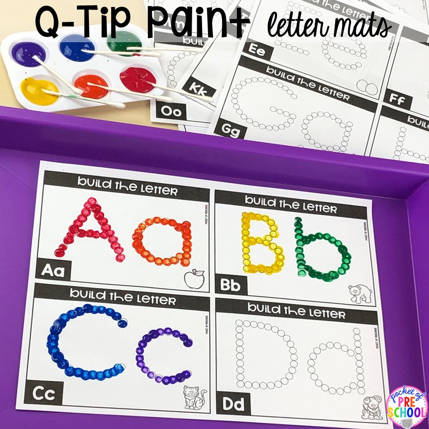 Paint dot it alphabet letter mats! Alphabet letter mats - build the letter and write it! Easy way to make learning letters and handwriting fun for preschool, pre-k, and kindergarten #letters #alaphabet #handwriting #preschool #prek #kindergarten