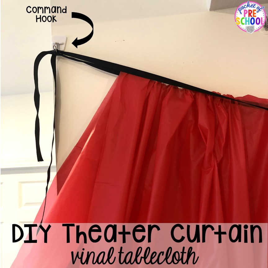 DIY curtains for the theater! How to change the dramatic play center into a Fairy Tale Theater for a fairy tale theme or reading theme. #dramaticplay #pretendplay #preschool #prek #kindergarten
