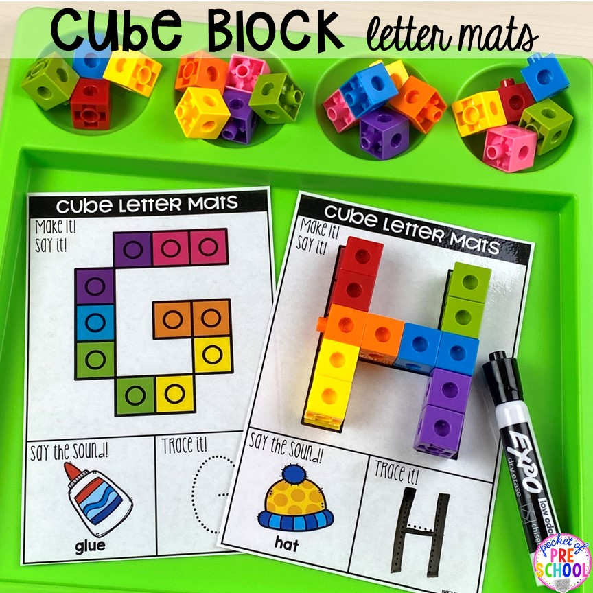 Cube block alphabet letter mats! Alphabet letter mats - build the letter and write it! Easy way to make learning letters and handwriting fun for preschool, pre-k, and kindergarten #letters #alaphabet #handwriting #preschool #prek #kindergarten