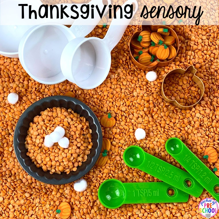 Thanksgiving sesnory table plus more sensory tables for every holiday with various sensory fillers and sensory tools that incorperate math, literacy, and science into play. #sensorytable #sensorybin #sensoryplay #preschool #prek