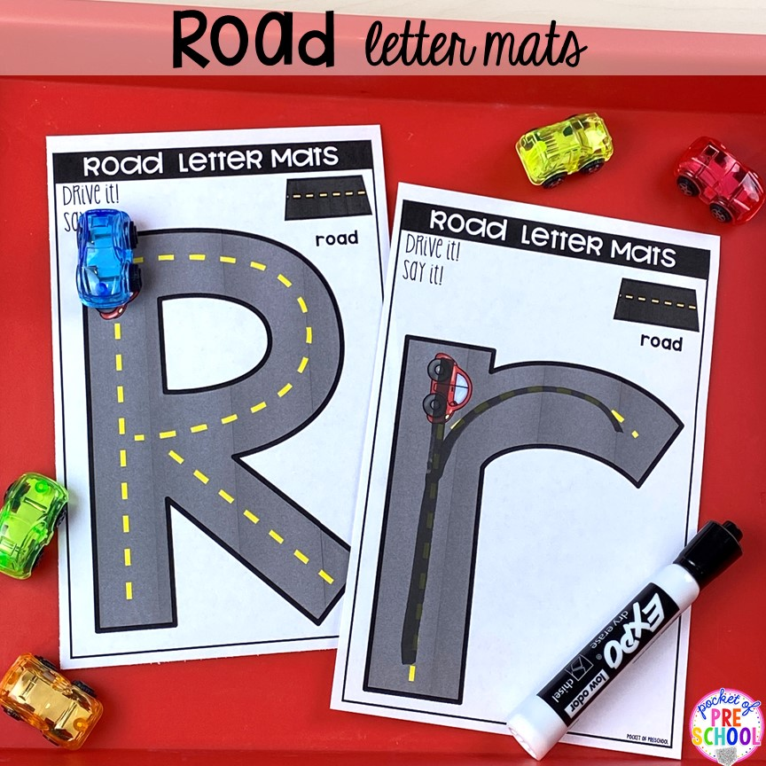 Road alphabet letter mats! Alphabet letter mats - build the letter and write it! Easy way to make learning letters and handwriting fun for preschool, pre-k, and kindergarten #letters #alaphabet #handwriting #preschool #prek #kindergarten
