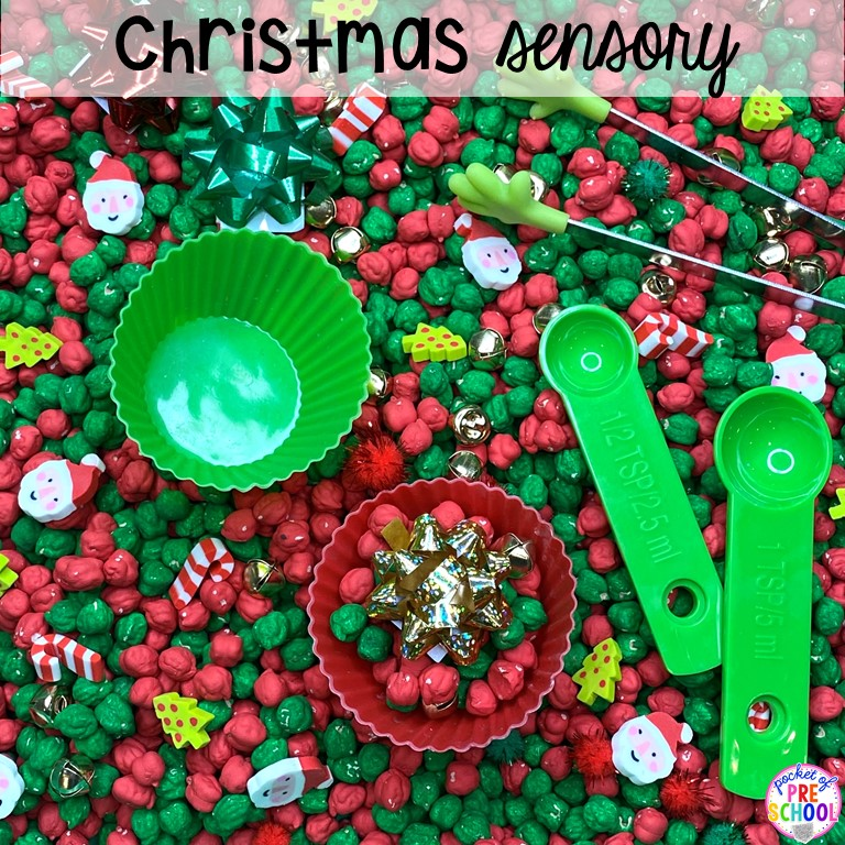 Christmas sesnory table plus more sensory tables for every holiday with various sensory fillers and sensory tools that incorperate math, literacy, and science into play. #sensorytable #sensorybin #sensoryplay #preschool #prek