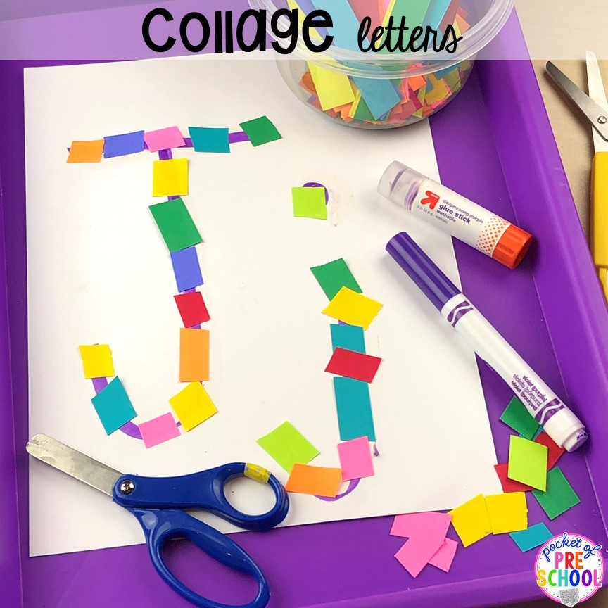 Cutting collage alphabet letter mats! Alphabet letter mats - build the letter and write it! Easy way to make learning letters and handwriting fun for preschool, pre-k, and kindergarten #letters #alaphabet #handwriting #preschool #prek #kindergarten