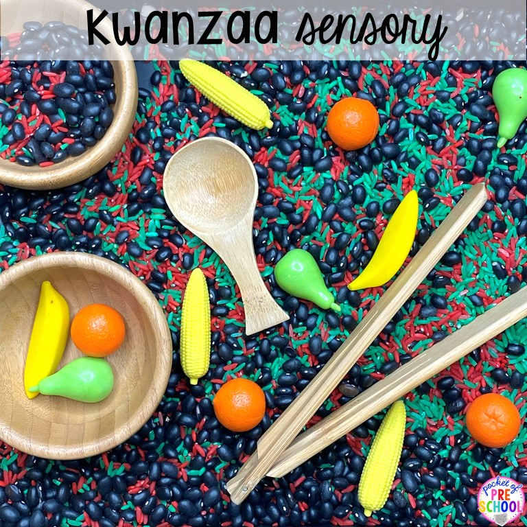 Kwanzaa sesnory table plus more sensory tables for every holiday with various sensory fillers and sensory tools that incorperate math, literacy, and science into play. #sensorytable #sensorybin #sensoryplay #preschool #prek