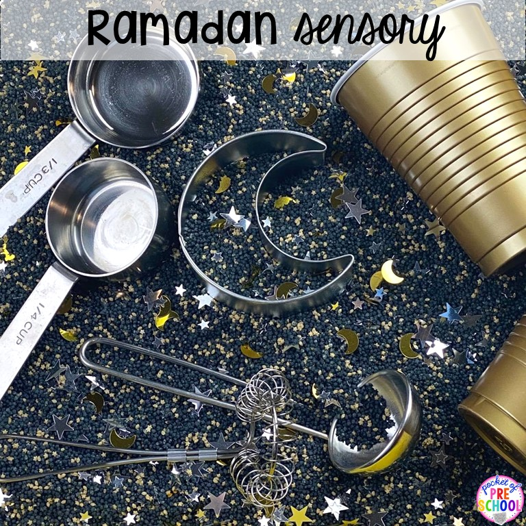 Ramadan sesnory table plus more sensory tables for every holiday with various sensory fillers and sensory tools that incorperate math, literacy, and science into play. #sensorytable #sensorybin #sensoryplay #preschool #prek