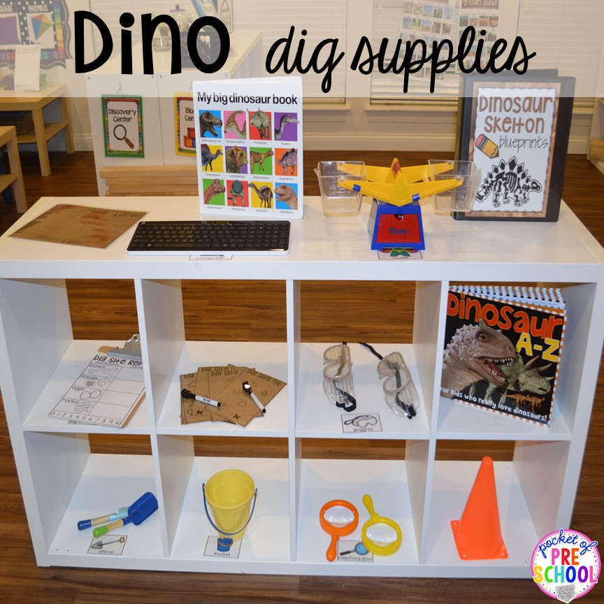 Dino dig supplies! ow to make a Dinosaur Dig Site in dramatic play and embed tons of math, literacy, and STEM into their play. Perfect for preschool, pre-k, and kindergarten. #preschool #prek #dinosaurtheme #dinodig #dramaticplay