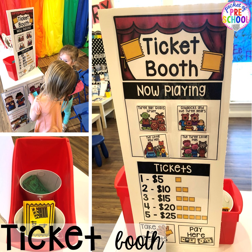 Ticket booth! How to change the dramatic play center into a Fairy Tale Theater for a fairy tale theme or reading theme. #dramaticplay #pretendplay #preschool #prek #kindergarten