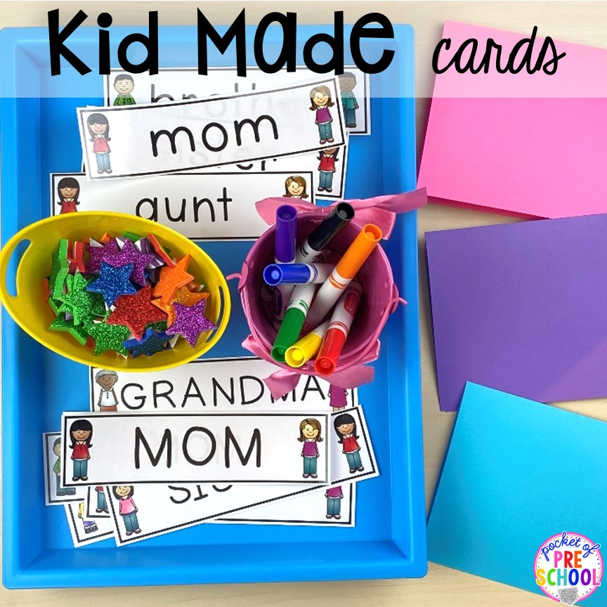 FREE family word cards to help students mcake cards for their family.