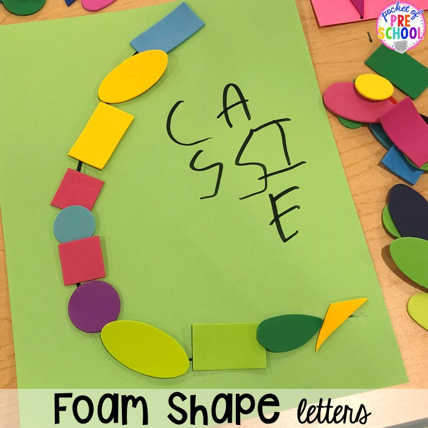Foam shape alphabet letter mats! Alphabet letter mats - build the letter and write it! Easy way to make learning letters and handwriting fun for preschool, pre-k, and kindergarten #letters #alaphabet #handwriting #preschool #prek #kindergarten