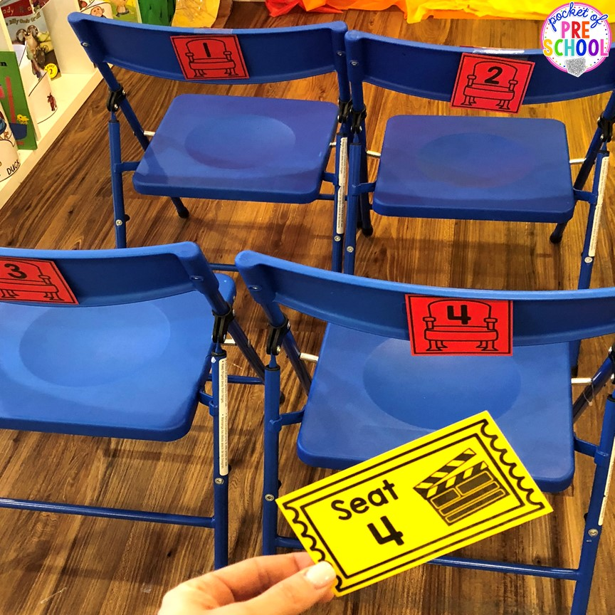 Number match seats and tickets! How to change the dramatic play center into a Fairy Tale Theater for a fairy tale theme or reading theme. #dramaticplay #pretendplay #preschool #prek #kindergarten