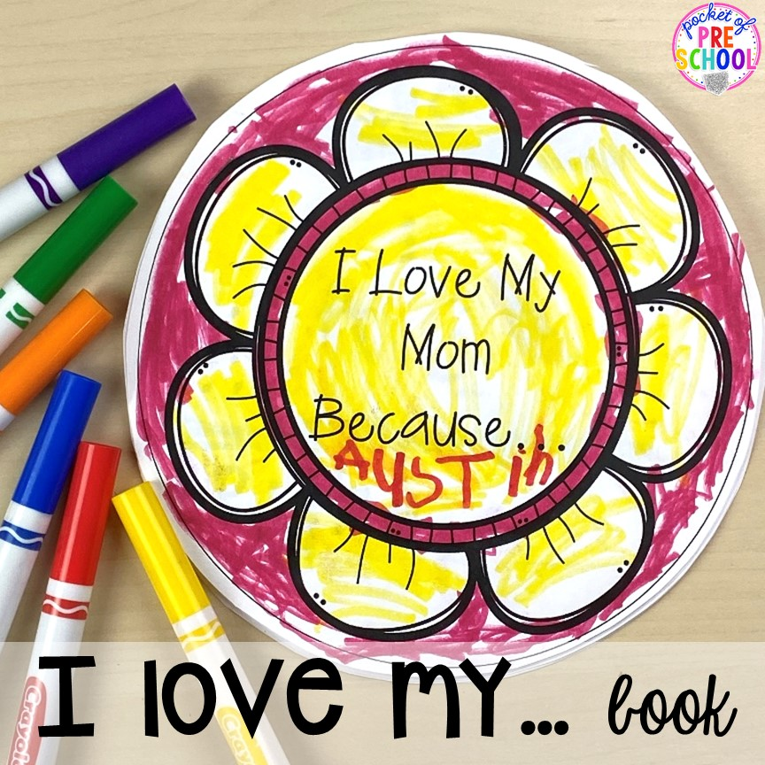 I loev my... book! Muffins with Mom or Muffins in the Morning classroom event! Ideas, photos, and food so much fun. #preschool #prek #muffinswithmom #classroomevent