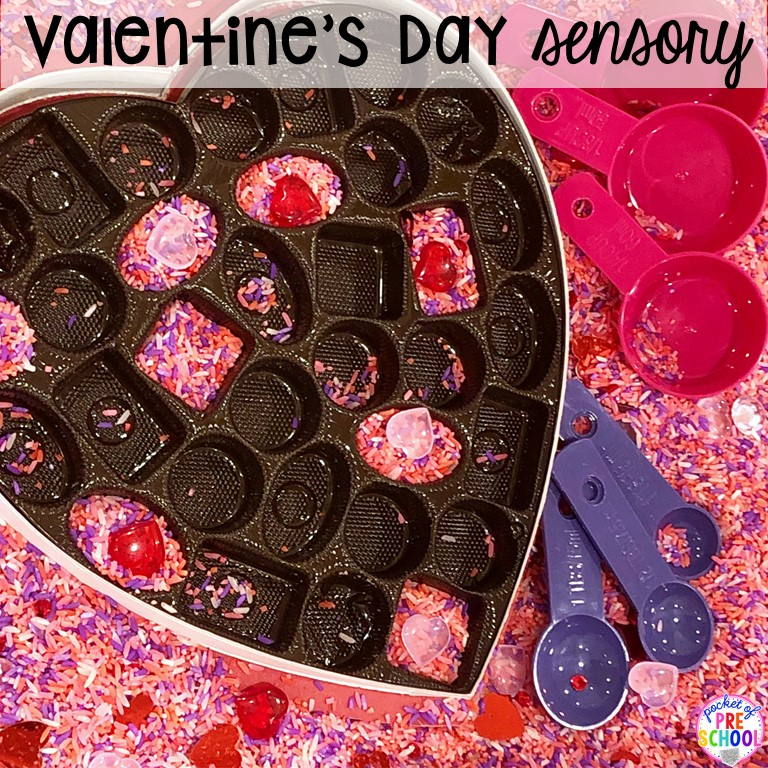 Valentine's Day sesnory table plus more sensory tables for every holiday with various sensory fillers and sensory tools that incorperate math, literacy, and science into play. #sensorytable #sensorybin #sensoryplay #preschool #prek