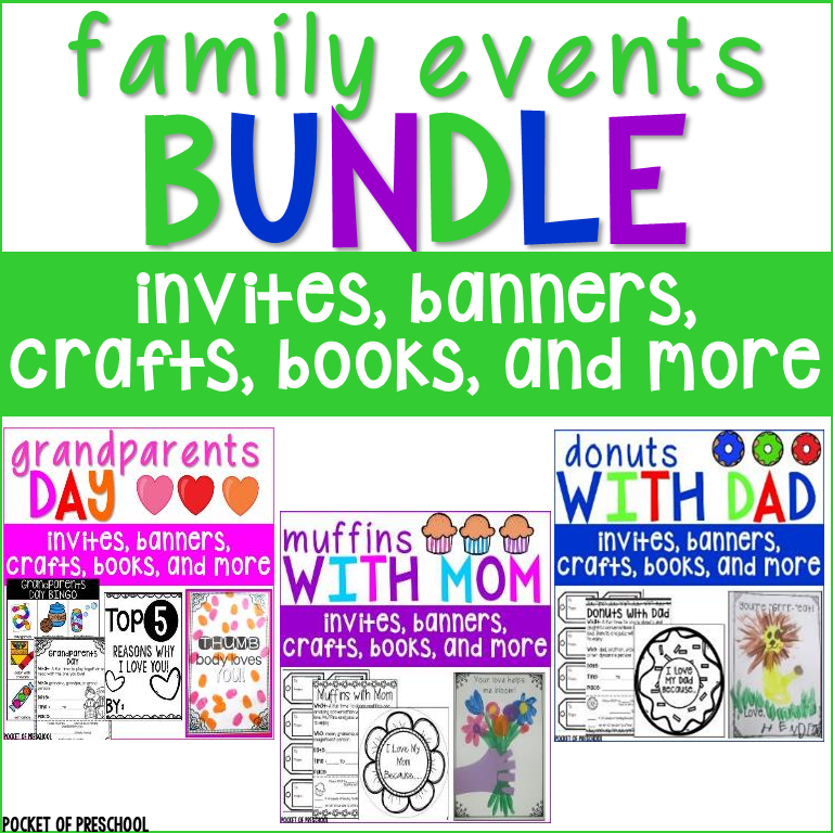 Family events bundle includes three fun events you can do in your classroom to celebrate moms, dads, and grandparents. These packs have everything you will need to host successful family events all school year long. These have been designed for preschool, pre-k, and kindergarten classrooms.