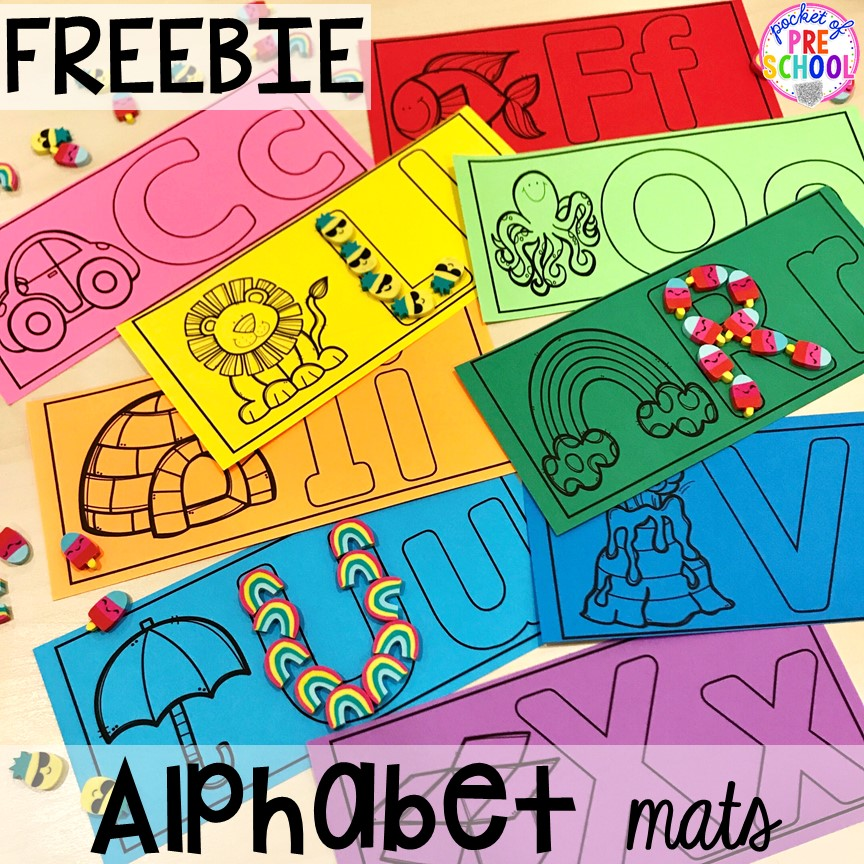 FREE alphabet letter mats! Alphabet letter mats - build the letter and write it! Easy way to make learning letters and handwriting fun for preschool, pre-k, and kindergarten #letters #alaphabet #handwriting #preschool #prek #kindergarten