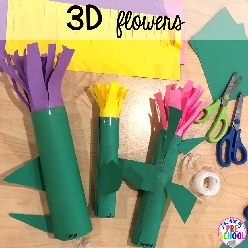 3D flowers! Muffins with Mom or Muffins in the Morning classroom event! Ideas, photos, and food so much fun. #preschool #prek #muffinswithmom #classroomevent