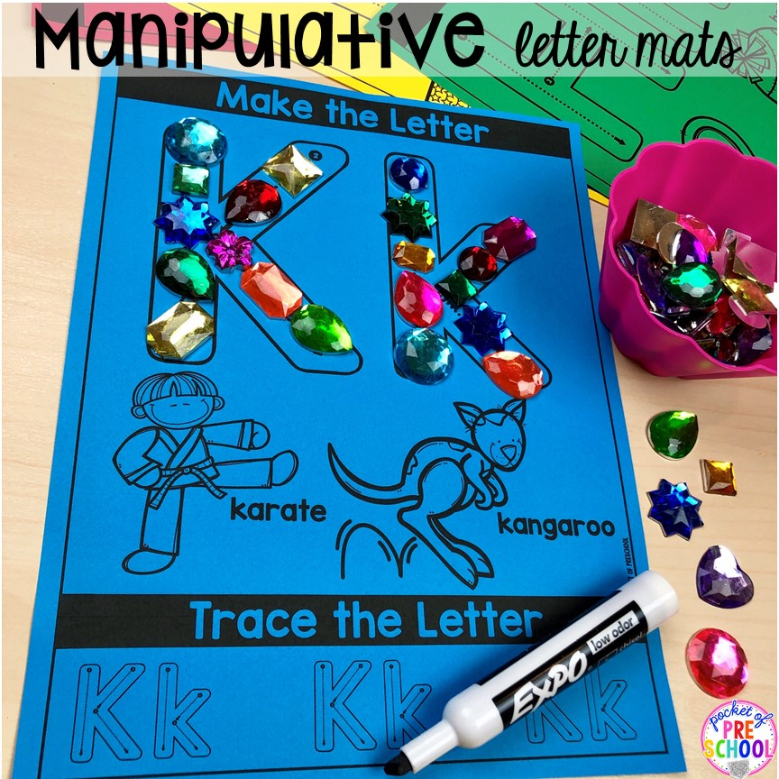 Build it manipulative alphabet letter mats! Alphabet letter mats - build the letter and write it! Easy way to make learning letters and handwriting fun for preschool, pre-k, and kindergarten #letters #alaphabet #handwriting #preschool #prek #kindergarten