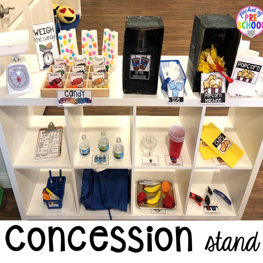 Concession Stand! How to change the dramatic play center into a Fairy Tale Theater for a fairy tale theme or reading theme. #dramaticplay #pretendplay #preschool #prek #kindergarten