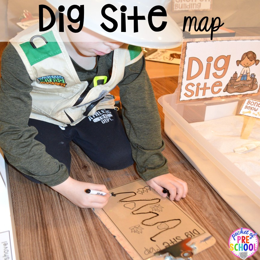Dig site map (pre-writing activity) ow to make a Dinosaur Dig Site in dramatic play and embed tons of math, literacy, and STEM into their play. Perfect for preschool, pre-k, and kindergarten. #preschool #prek #dinosaurtheme #dinodig #dramaticplay