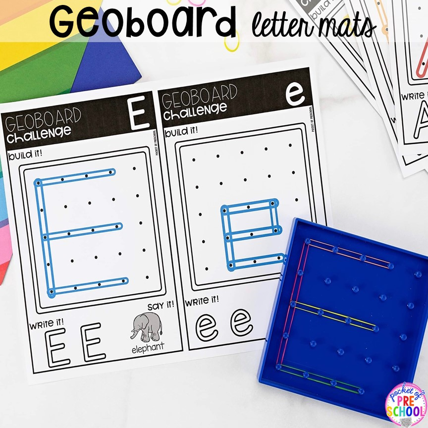 Geoboard alphabet letter mats! Alphabet letter mats - build the letter and write it! Easy way to make learning letters and handwriting fun for preschool, pre-k, and kindergarten #letters #alaphabet #handwriting #preschool #prek #kindergarten