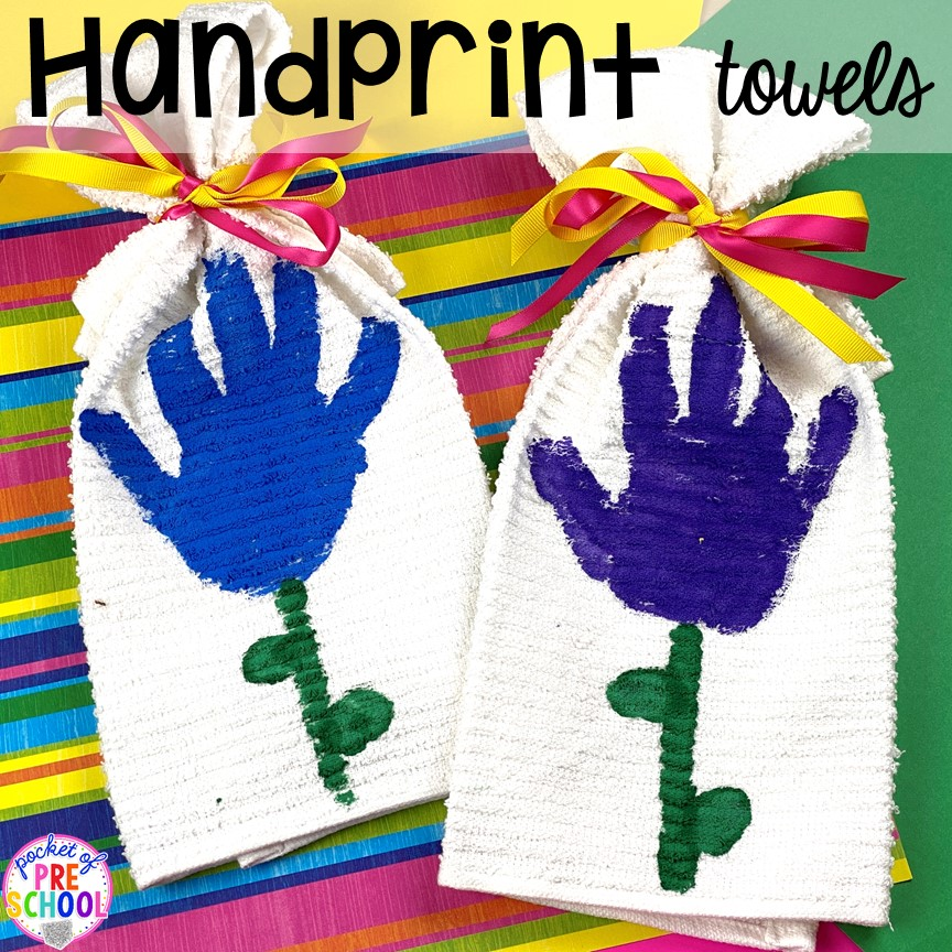 Handprint towels! Top 10 Kid made gifts for Mother's Day, Father's Day, Grandparent's Day, and Christmas. #kidmadegift #mothersdaygift #fathersdaygift