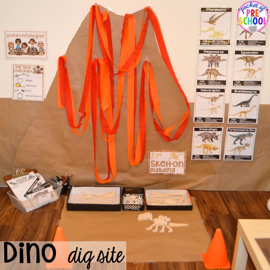 Volcano up close! ow to make a Dinosaur Dig Site in dramatic play and embed tons of math, literacy, and STEM into their play. Perfect for preschool, pre-k, and kindergarten. #preschool #prek #dinosaurtheme #dinodig #dramaticplay