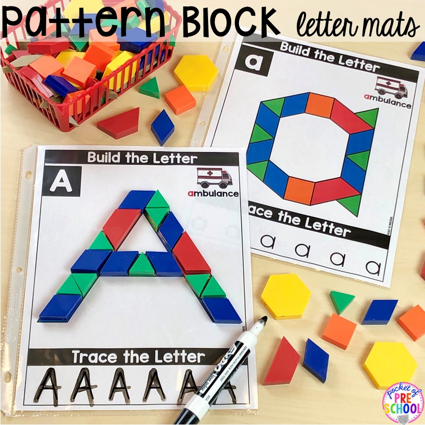 Pattern block alphabet letter mats! Alphabet letter mats - build the letter and write it! Easy way to make learning letters and handwriting fun for preschool, pre-k, and kindergarten #letters #alaphabet #handwriting #preschool #prek #kindergarten
