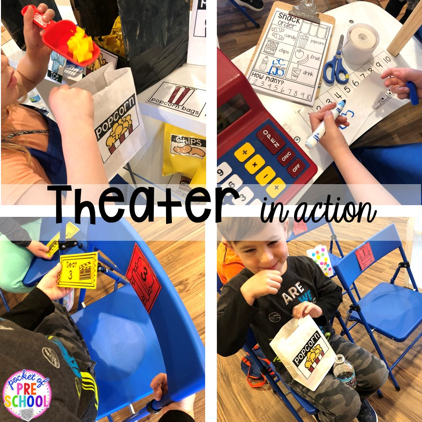Theater in action! How to change the dramatic play center into a Fairy Tale Theater for a fairy tale theme or reading theme. #dramaticplay #pretendplay #preschool #prek #kindergarten