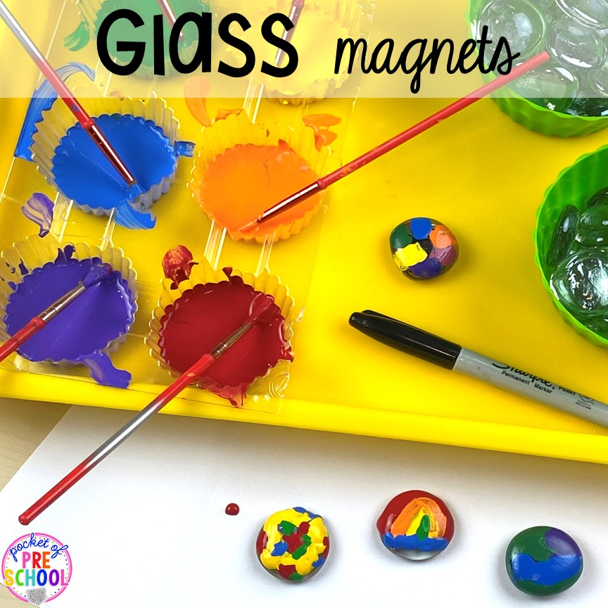 Glass magnet kid made gift! Top 10 Kid made gifts for Mother's Day, Father's Day, Grandparent's Day, and Christmas. #kidmadegift #mothersdaygift #fathersdaygift