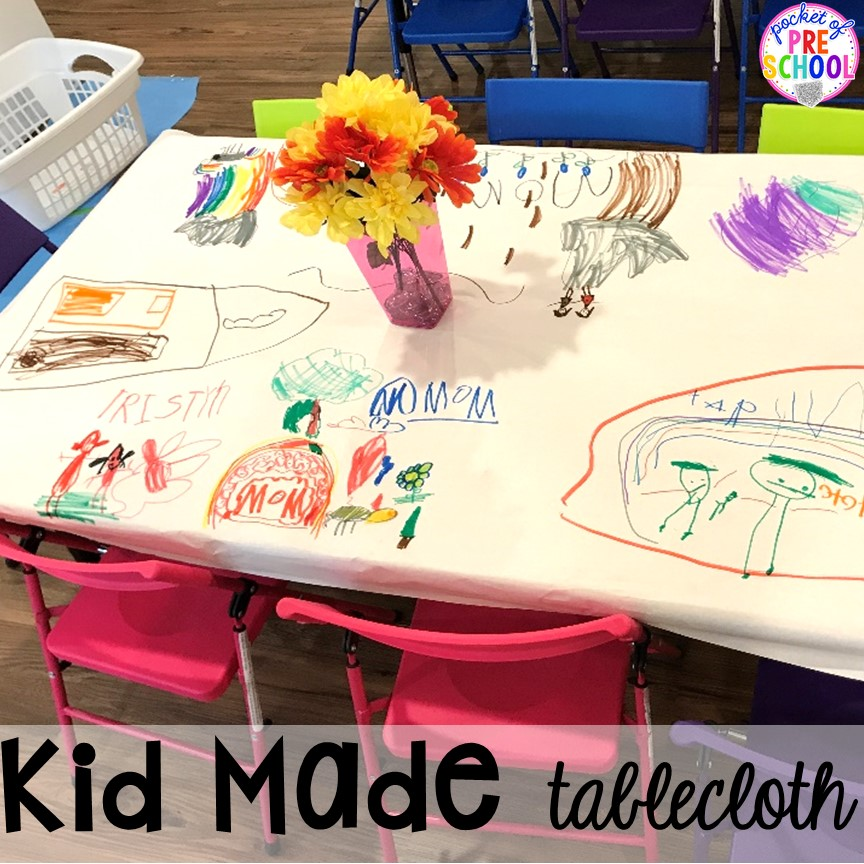 Kid made tablecloth! Muffins with Mom or Muffins in the Morning classroom event! Ideas, photos, and food so much fun. #preschool #prek #muffinswithmom #classroomevent