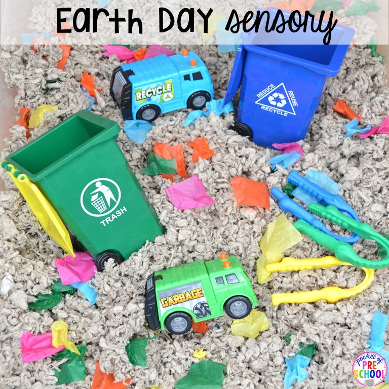 Earth Day sesnory table plus more sensory tables for every holiday with various sensory fillers and sensory tools that incorperate math, literacy, and science into play. #sensorytable #sensorybin #sensoryplay #preschool #prek
