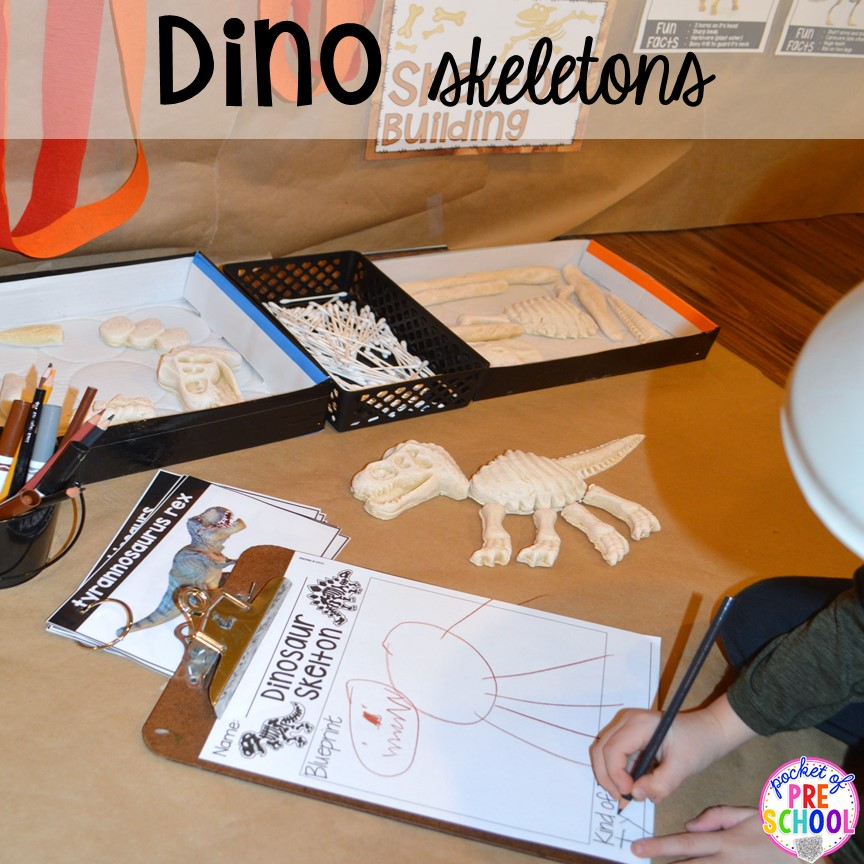 Draw dinosaur skeletons! ow to make a Dinosaur Dig Site in dramatic play and embed tons of math, literacy, and STEM into their play. Perfect for preschool, pre-k, and kindergarten. #preschool #prek #dinosaurtheme #dinodig #dramaticplay