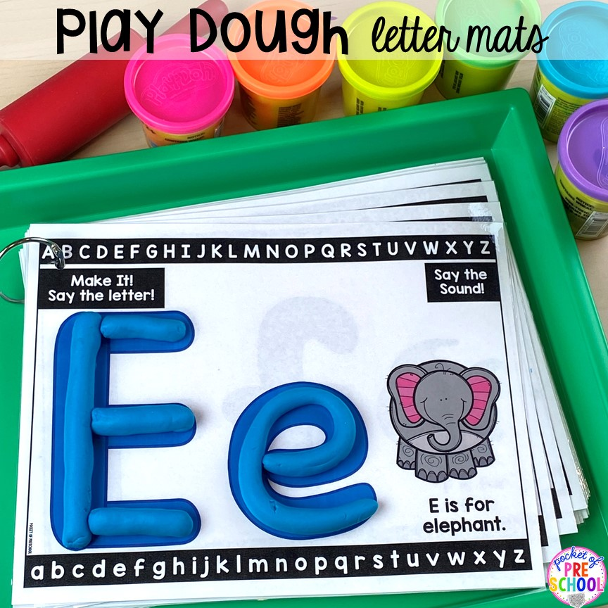 Playdough alphabet letter mats! Alphabet letter mats - build the letter and write it! Easy way to make learning letters and handwriting fun for preschool, pre-k, and kindergarten #letters #alaphabet #handwriting #preschool #prek #kindergarten