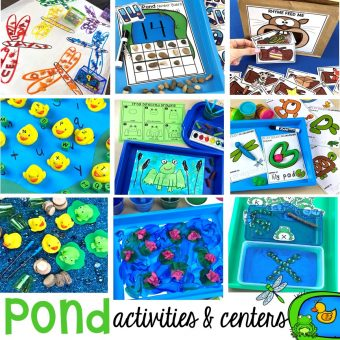 Activities and centers for a pond theme (letters, math, fine motor, science, art, sensory, and more) and fun FREE printables too. Designed for preschool, pre-k, and kindergarten. #pondtheme #preschool #prek #centers