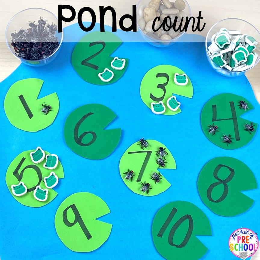 Pond counting game plus more pond theme activities and centers for preschool, pre-k, and kindergarten. #preschool #prek #pondtheme